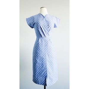 Shabby Apple Polka Blues Pencil Dress w/ POCKETS